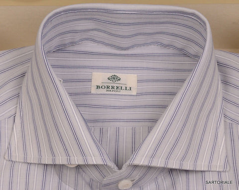 LUIGI BORRELLI Napoli Gray Striped Cotton Dress Shirt NEW US L 15.75 NEW EU 40 - SARTORIALE - 2