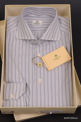 LUIGI BORRELLI Napoli Light Gray Striped Cotton Dress Shirt US M 15.5 NEW EU 39 - SARTORIALE - 1