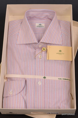 LUIGI BORRELLI Napoli Light Red Striped Cotton Dress Shirt US L 15.75 NEW EU 40 - SARTORIALE - 1