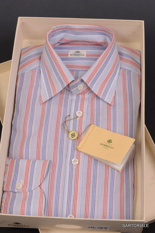 LUIGI BORRELLI Napoli Multi-Color Striped Cotton Dress Shirt US 15.5 NEW EU 39 - SARTORIALE - 1