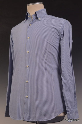 "MISTERNIC ""Doppio Ritorto"" Blue Striped Cotton Dress Shirt 15.75 NEW 40 Slim Fit - SARTORIALE - 1"