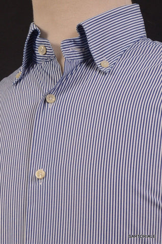 "MISTERNIC ""Doppio Ritorto"" Blue Striped Cotton Dress Shirt 15.75 NEW 40 Slim Fit - SARTORIALE - 2"