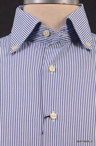 "MISTERNIC ""Doppio Ritorto"" Blue Striped Cotton Dress Shirt EU 39 NEW 15.5 - SARTORIALE - 2"
