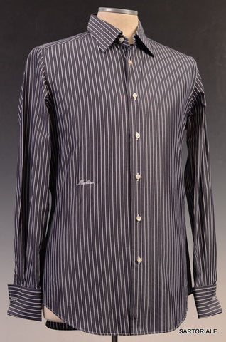 MOSCHINO Gray Striped Cotton Slim Fit French Cuff Dress Shirt US 15.5 NEW EU 39 - SARTORIALE - 1