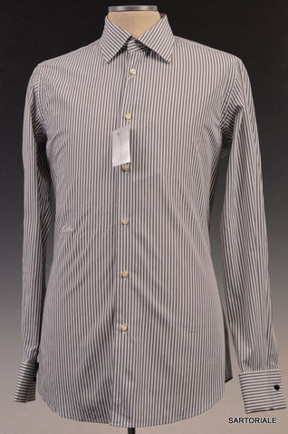 MOSCHINO White Gray Striped Cotton Slim Fit French Cuff Dress Shirt 15.5 NEW 39 - SARTORIALE - 1