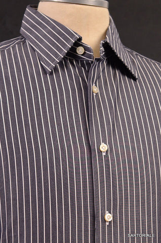 MOSCHINO Gray Striped Cotton Slim Fit French Cuff Dress Shirt US 15.5 NEW EU 39 - SARTORIALE - 2
