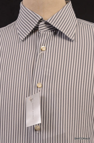 MOSCHINO White Gray Striped Cotton Slim Fit French Cuff Dress Shirt 15.5 NEW 39 - SARTORIALE - 2