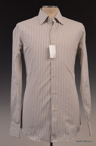 MOSCHINO White Striped Cotton Slim Fit Dress Shirt US 15.5 NEW EU 39 - SARTORIALE - 1