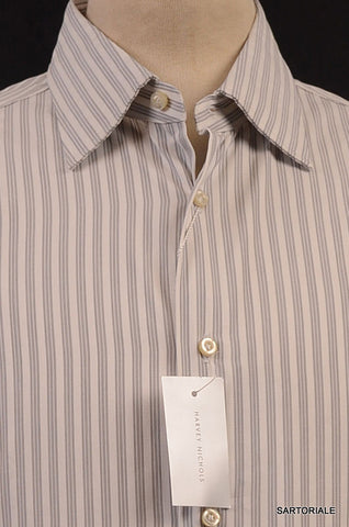MOSCHINO White Striped Cotton Slim Fit Dress Shirt US 15.5 NEW EU 39 - SARTORIALE - 2