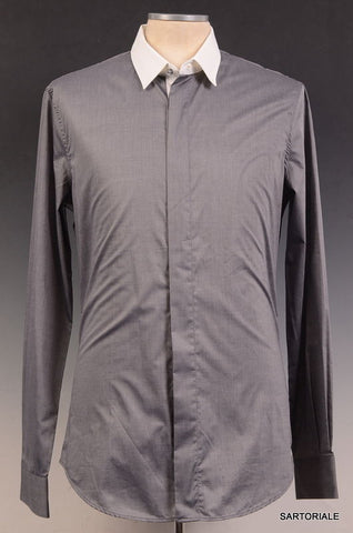 R.E.D. VALENTINO Gray Cotton Dress Shirt EU 48 NEW US S - SARTORIALE - 1