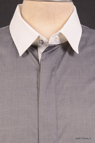 R.E.D. VALENTINO Gray Cotton Dress Shirt EU 48 NEW US S - SARTORIALE - 2