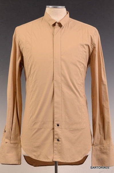 ROBERTO CAVALLI Beige Tuxedo Cotton Dress Shirt US 15.5 / S NEW EU 48 French Cuf - SARTORIALE - 1
