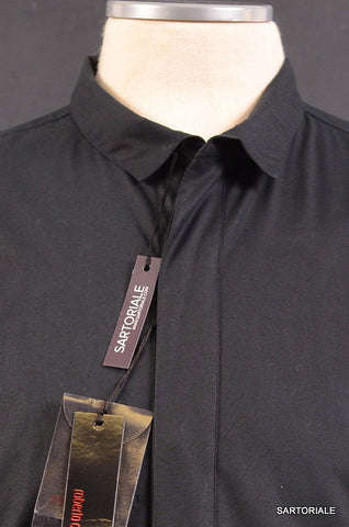 ROBERTO CAVALLI Solid Black Tuxedo Cotton Dress Shirt 15.5 / S 48 French Cuff - SARTORIALE - 2