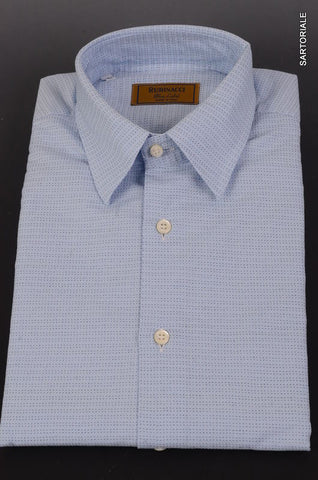 "RUBINACCI Napoli ""Blue Label"" Blue Geometric Cotton Dress Shirt NEW Classic Fit - SARTORIALE - 1"