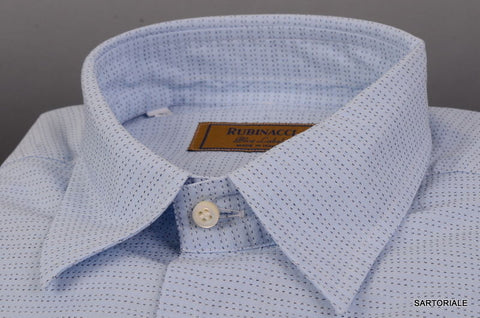 "RUBINACCI Napoli ""Blue Label"" Blue Geometric Cotton Dress Shirt NEW Classic Fit - SARTORIALE - 2"