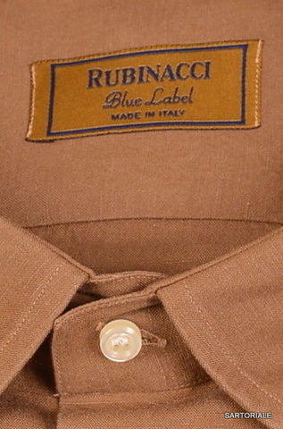 "RUBINACCI Napoli ""Blue Label"" Brown Cotton Dress Shirt NEW Classic Fit - SARTORIALE - 2"