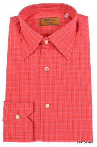 "RUBINACCI Napoli ""Blue Label"" Red Plaid Cotton Dress Shirt 15.75 NEW 40 - SARTORIALE - 1"