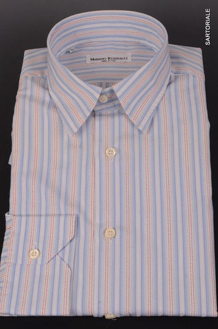 RUBINACCI Napoli Blue Striped Cotton Dress Shirt EU 52 NEW US L Classic Fit - SARTORIALE - 1