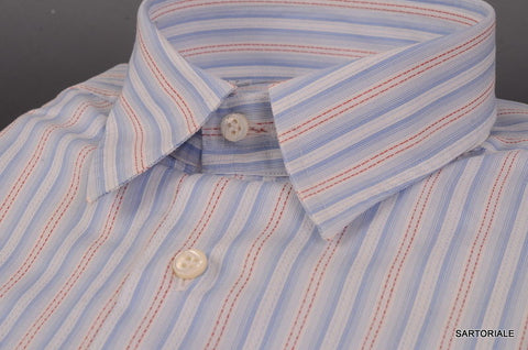 RUBINACCI Napoli Blue Striped Cotton Dress Shirt EU 52 NEW US L Classic Fit - SARTORIALE - 2