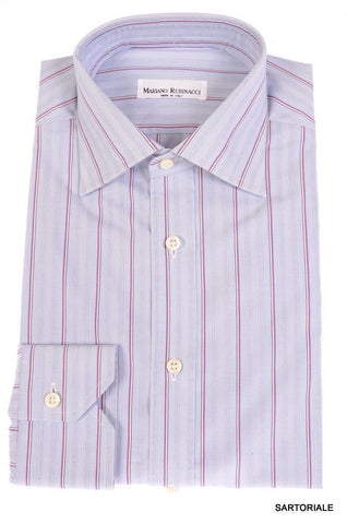 RUBINACCI Napoli Blue Striped Cotton Dress Shirt NEW Regular Fit - SARTORIALE - 1