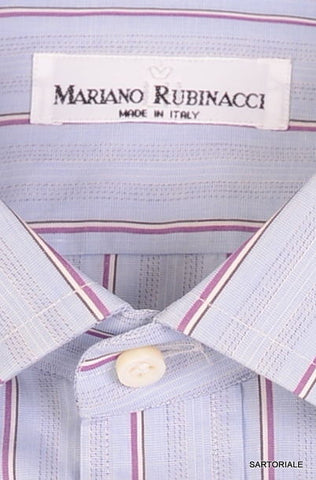 RUBINACCI Napoli Blue Striped Cotton Dress Shirt NEW Regular Fit - SARTORIALE - 2