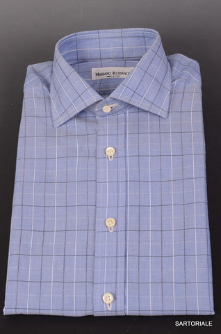 RUBINACCI Napoli Hand Made Blue Cotton Dress Shirt 37 NEW 14.5 Regular Fit - SARTORIALE - 1