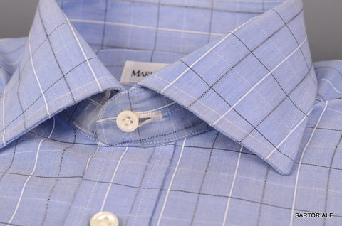 RUBINACCI Napoli Hand Made Blue Cotton Dress Shirt 37 NEW 14.5 Regular Fit - SARTORIALE - 2
