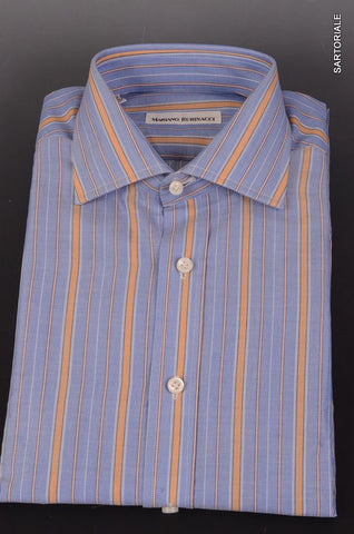 RUBINACCI Napoli Hand Made Blue Striped Cotton Dress Shirt 41 NEW 16 Classic Fit - SARTORIALE - 1
