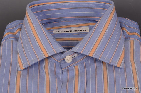 RUBINACCI Napoli Hand Made Blue Striped Cotton Dress Shirt 41 NEW 16 Classic Fit - SARTORIALE - 2