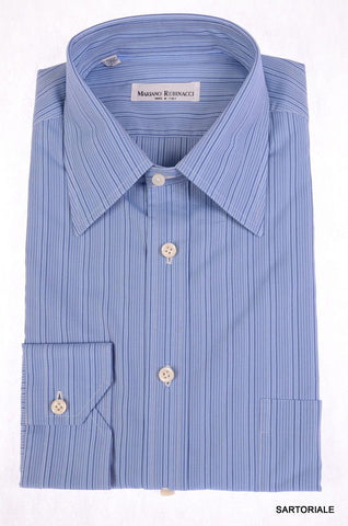 RUBINACCI Napoli Hand Made Blue Striped Cotton Dress Shirt 43 NEW US 17 Slim Fit - SARTORIALE - 1