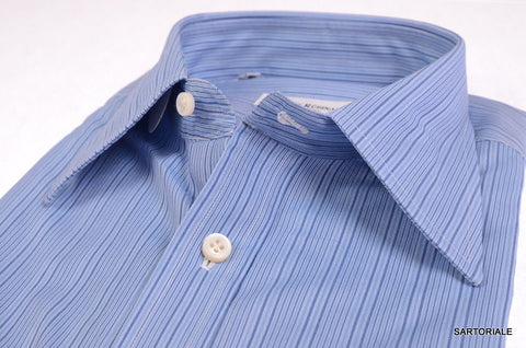 RUBINACCI Napoli Hand Made Blue Striped Cotton Dress Shirt 43 NEW US 17 Slim Fit - SARTORIALE - 2