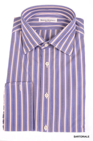 RUBINACCI Napoli Hand Made Blue Striped Cotton French Cuff Dress Shirt NEW - SARTORIALE - 1