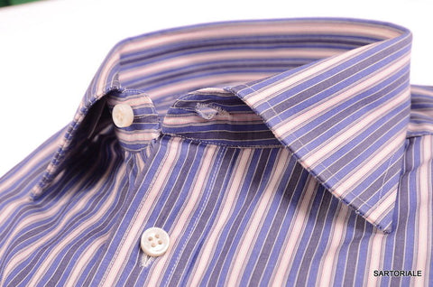 RUBINACCI Napoli Hand Made Blue Striped Cotton French Cuff Dress Shirt NEW - SARTORIALE - 2