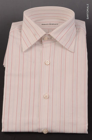 RUBINACCI Hand Made White Striped Cotton F Cuff Dress Shirt NEW Regular Fit - SARTORIALE - 1