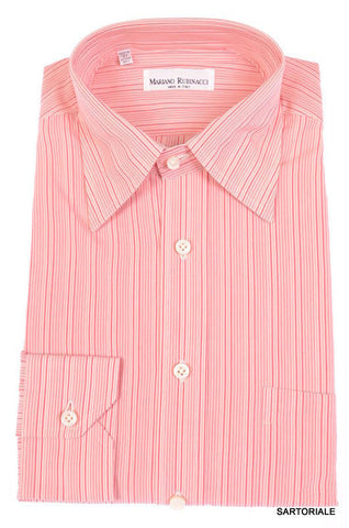 RUBINACCI Napoli Hand Made Pink Striped Cotton Dress Shirt NEW Regular Fit - SARTORIALE - 1