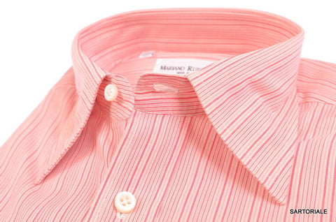 RUBINACCI Napoli Hand Made Pink Striped Cotton Dress Shirt NEW Regular Fit - SARTORIALE - 2