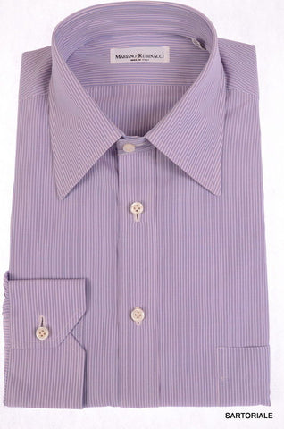 RUBINACCI Napoli Hand Made Purple Striped Cotton Dress Shirt 43 NEWS 17 Classic - SARTORIALE - 1