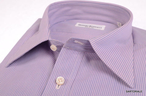 RUBINACCI Napoli Hand Made Purple Striped Cotton Dress Shirt 43 NEWS 17 Classic - SARTORIALE - 2