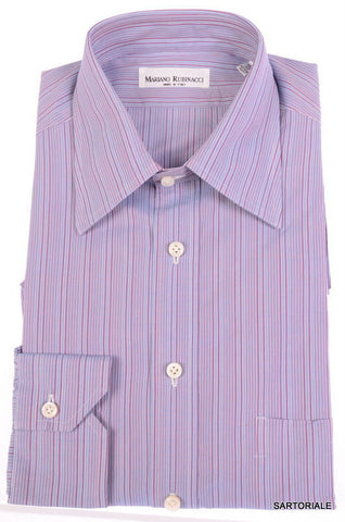 RUBINACCI Napoli Hand Made Blue Striped Cotton Dress Shirt NEW Regular Fit - SARTORIALE - 1