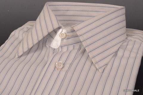 RUBINACCI Napoli Hand Made White Striped Cotton Dress Shirt Classic Fit - SARTORIALE - 2