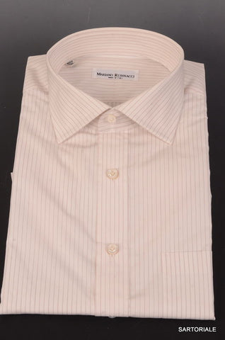 RUBINACCI Napoli Handmade White Striped Cotton Dress Shirt 43 NEW 17 Classic Fit - SARTORIALE - 1