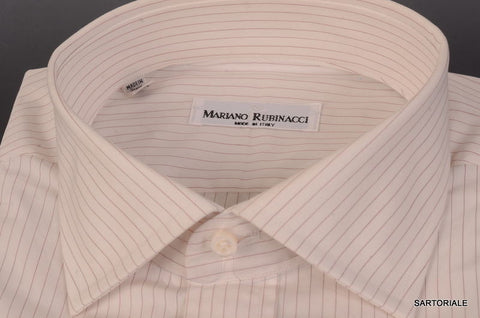 RUBINACCI Napoli Handmade White Striped Cotton Dress Shirt 43 NEW 17 Classic Fit - SARTORIALE - 2