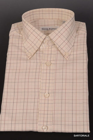RUBINACCI Napoli Hand Made White Plaid Cotton Dress Shirt NEW Regular Fit - SARTORIALE - 1