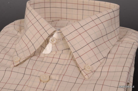 RUBINACCI Napoli Hand Made White Plaid Cotton Dress Shirt NEW Regular Fit - SARTORIALE - 2