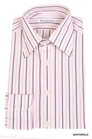 RUBINACCI Napoli Hand Made White Striped Cotton Dress Shirt NEW Regular Fit - SARTORIALE - 1