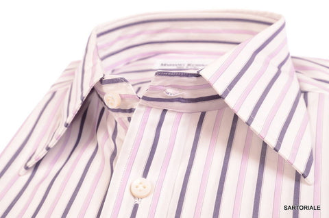 RUBINACCI Napoli Hand Made White Striped Cotton Dress Shirt NEW Regular Fit - SARTORIALE - 2