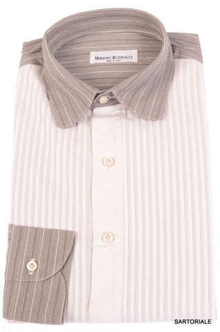 RUBINACCI Napoli Hand Made White Striped Cotton Tuxedo Dress Shirt  15.75 NEW 40 - SARTORIALE - 1
