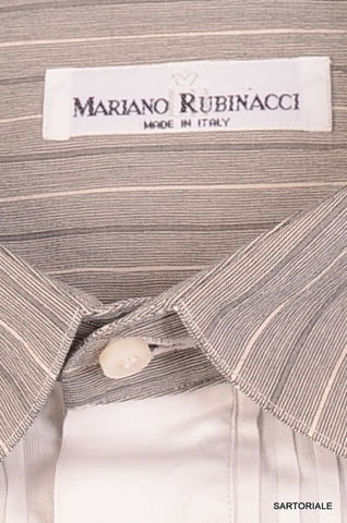 RUBINACCI Napoli Hand Made White Striped Cotton Tuxedo Dress Shirt  15.75 NEW 40 - SARTORIALE - 2