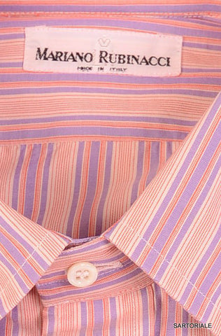 RUBINACCI Napoli Pink Striped Cotton Dress Shirt US 15.75 NEW EU 40 Classic Fit - SARTORIALE - 2