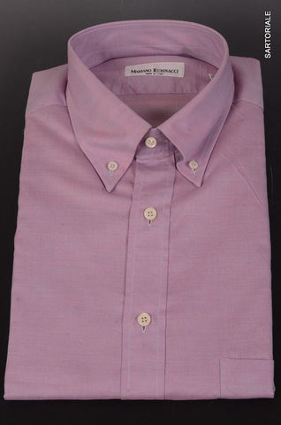 RUBINACCI Napoli Solid Purple Cotton Button-Down Dress Shirt 43 NEW 17 Reg Fit - SARTORIALE - 1